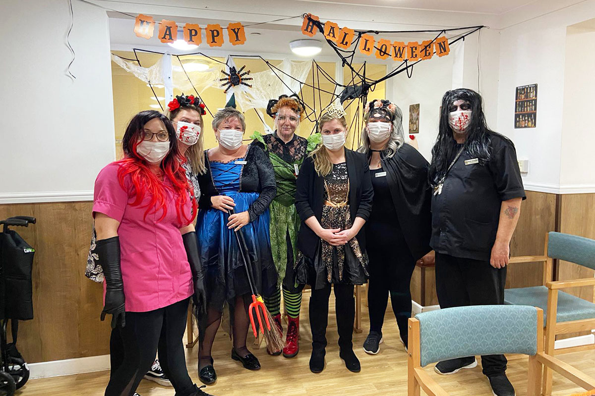 Halloween decorations and fancy dress at Sonya Lodge Residential Care Home